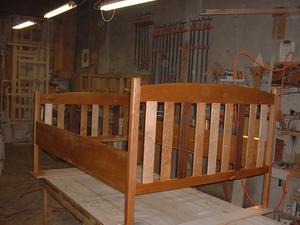 Cherry, maple, black walnut and alder bed frame